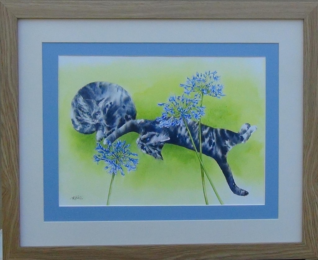 Alison Barter Blue cats with agapanthus. £75.00 (AB001)