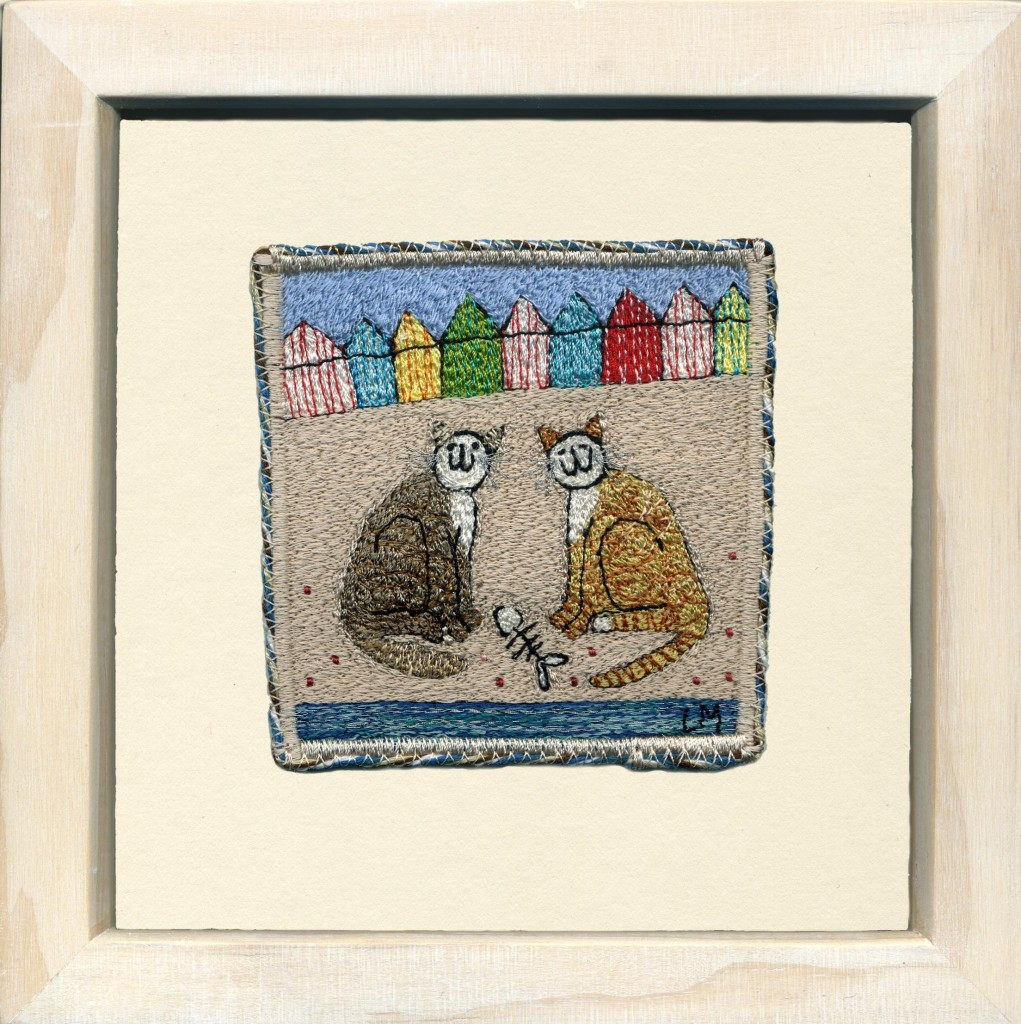 Linda Miller. Sharing a Snack. Machine embroidery. £SOLD