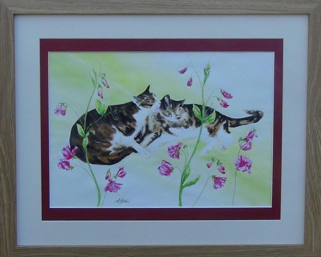 Alison Barter Tabbies with pink flowers. £75.00