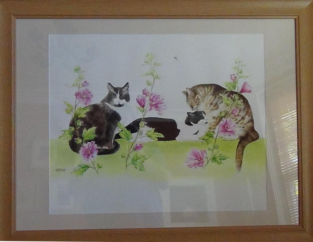 Three cats and a wasp. £180.00 (AB003)