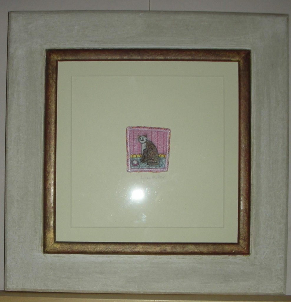 Linda Miller. Ginger and the empty bowl. Machine embroidery. £60.00