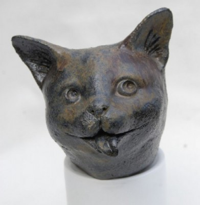 Laughing Cat - ceramic by Jane Adams